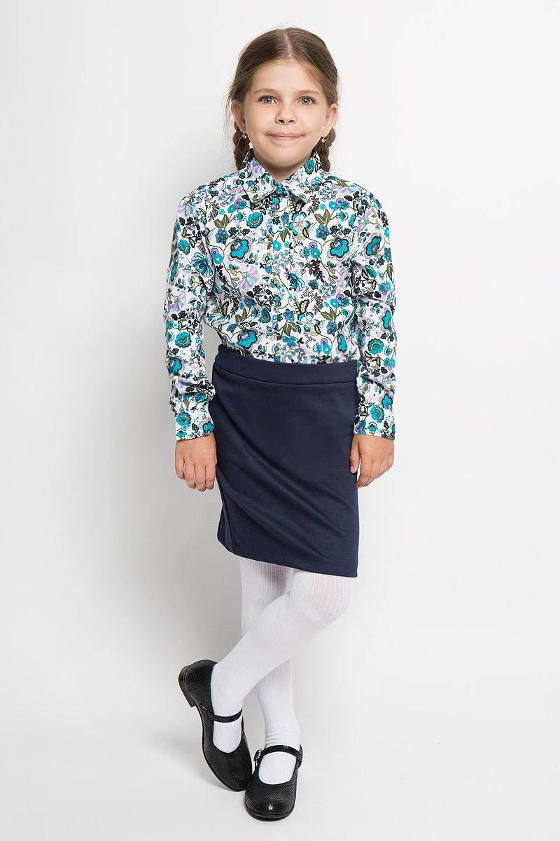 Блузка для девочки Nota Bene, цвет: белый, бирюзовый, сиреневый. NR5522-77. Размер 164, 14 лет