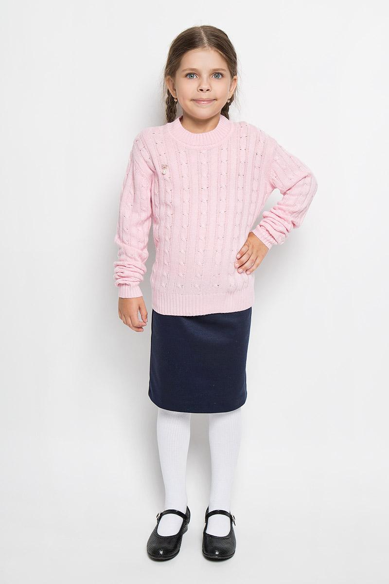 Джемпер для девочки Nota Bene, цвет: светло-розовый. WK5417-56. Размер 128WK5417-56Модный джемпер для девочки Nota Bene подарит вашей малышке комфорт и удобство в прохладные дни. Изготовленный из комбинированной пряжи, он необычайно мягкий и приятный на ощупь, не сковывает движения малыша и позволяет коже дышать, не раздражает даже самую нежную и чувствительную кожу ребенка, обеспечивая наибольший комфорт. Джемпер с длинными рукавами и круглым вырезом горловины превосходно тянется и отлично сидит. Вырез горловины, манжеты рукавов и низ джемпера связаны резинкой. Джемпер оформлен небольшой подвеской спереди. Оригинальный современный дизайн и модная расцветка делают этот джемпер практичным и стильным предметом детского гардероба. В нем ваша малышка будет чувствовать себя уютно и комфортно и всегда будет в центре внимания!
