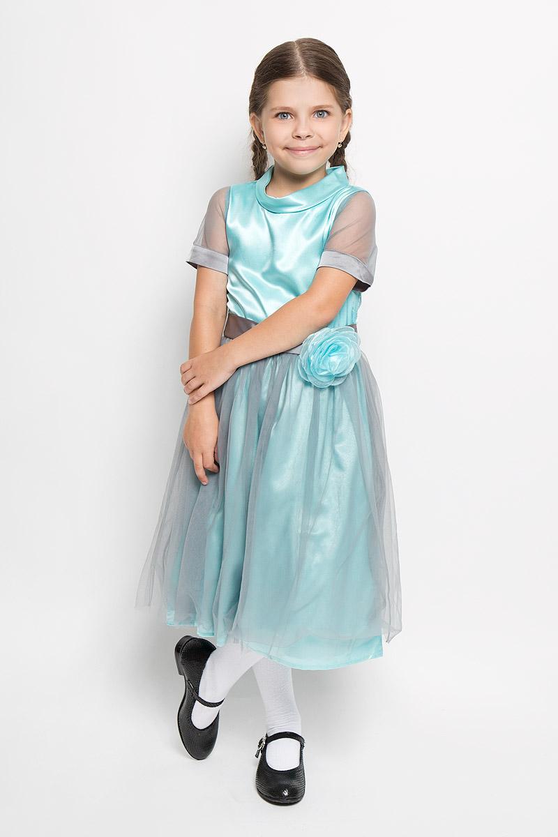Платье для девочки Nota Bene, цвет: бирюзовый, серый. ND6405-28. Размер 122, 7 летND6405-28Нарядное платье для девочки Nota Bene станет отличным дополнением к гардеробу вашей маленькой модницы. Изготовленное из полиэстера, оно легкое и воздушное, приятное на ощупь, не сковывает движения и хорошо вентилируется. В качестве подкладки используется натуральный хлопок.Платье с воротником-стойкой и короткими рукавами застёгивается на спинке на потайную застежку-молнию. Рукава выполнены из полупрозрачного материала контрастного цвета. От линии талии заложены складочки, придающие изделию пышность. Подъюбник снизу дополнен жесткой микросеткой. Сверху юбка покрыта контрастным шифоном. Линия талии подчеркнута декоративным поясом и объёмной розочкой. Роза крепится на замок-булавку.В таком платье ваша маленькая принцесса всегда будет в центре внимания!