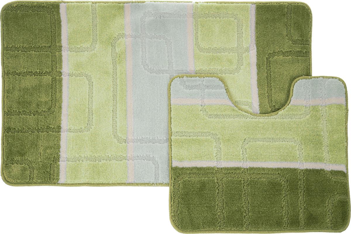 Набор ковриков для ванной Arya  Multi 5020 , цвет: зеленый, фисташковый, молочный, 2 шт - Коврики