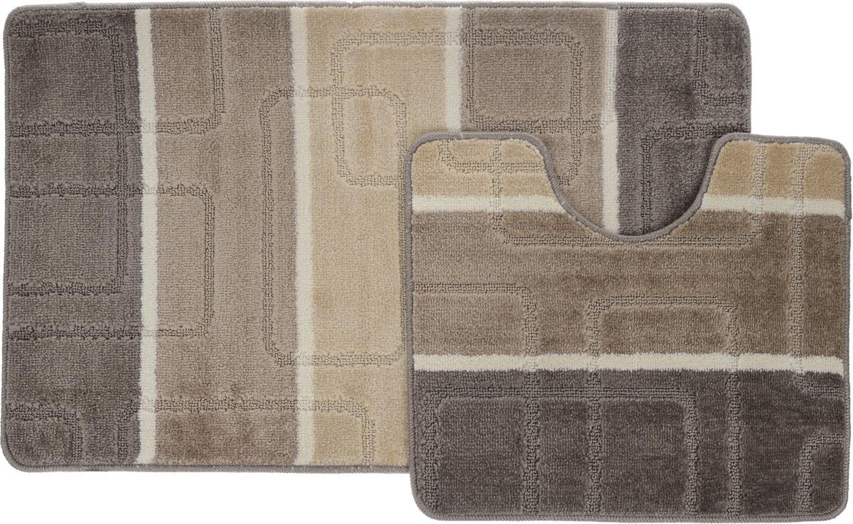 Набор ковриков для ванной Arya  Multi 5020 , цвет: коричневый, бежевый, молочный, 2 шт - Коврики