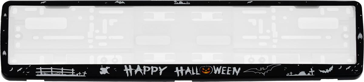 Рамка под номерной знак Happy HalloweenЗ0000015067Рамка Happy Halloween не только закрепит регистрационный знак на вашем автомобиле, но и красиво его оформит. Основание рамки выполнено из полипропилена, материал лицевой панели - пластик.Она предназначена для крепления регистрационного знака российского и европейского образца, декорирована рисунком и надписью Happy Halloween. Устанавливается на все типы автомобилей. Крепления в комплект не входят.Стильный дизайн идеально впишется в экстерьер вашего автомобиля.