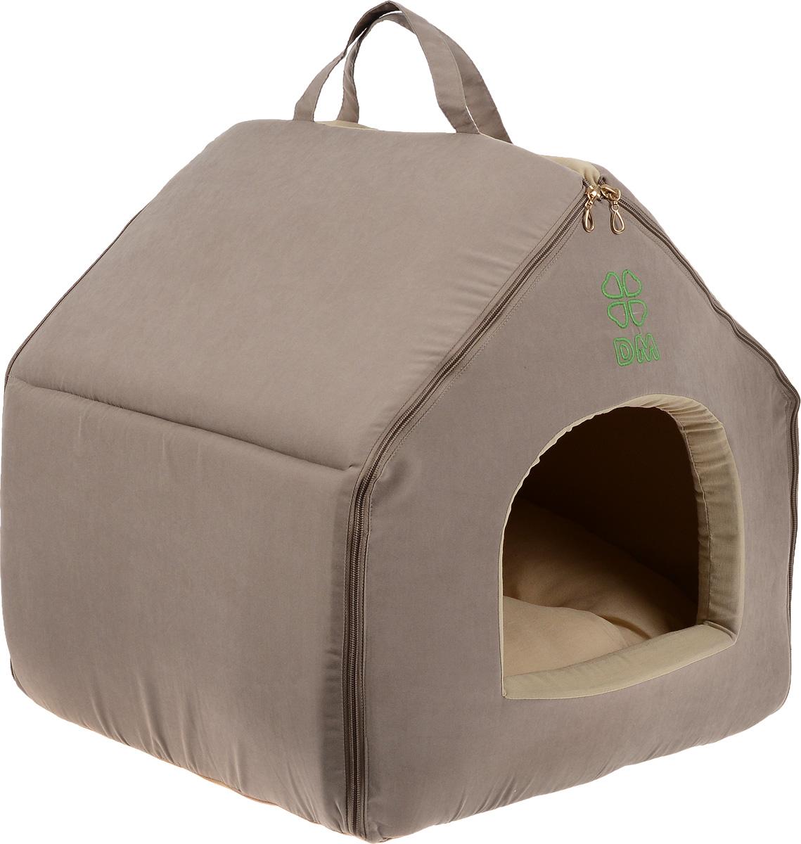 Домик-будка для животных Dogmoda Лофт, цвет: темно-бежевый, бежевый, 46 х 35 х 45 смDM-150356Домик-будка Dogmoda Лофт непременно станет любимым местом отдыха вашего домашнего животного. Изделие выполнено из высококачественного полиэстера, хлопка и холлофайбера. Наполнитель - поролон. В таком домике вашему любимцу будет мягко и тепло. Он даст вашему питомцу ощущение уюта и уединенности, а также возможность спрятаться. Изделие оснащено съемной мягкой подстилкой. Домик легко разбирается и собирается при помощи застежек-молний.Размер домика: 46 х 35 х 45 см.Размер подстилки: 48 х 36 х 8 см.