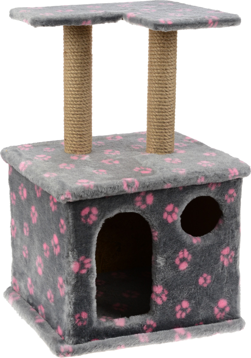 Игровой комплекс для кошек Меридиан, с фигурной полкой и домиком, цвет: серый, розовый, бежевый, 45 х 36 х 69 см