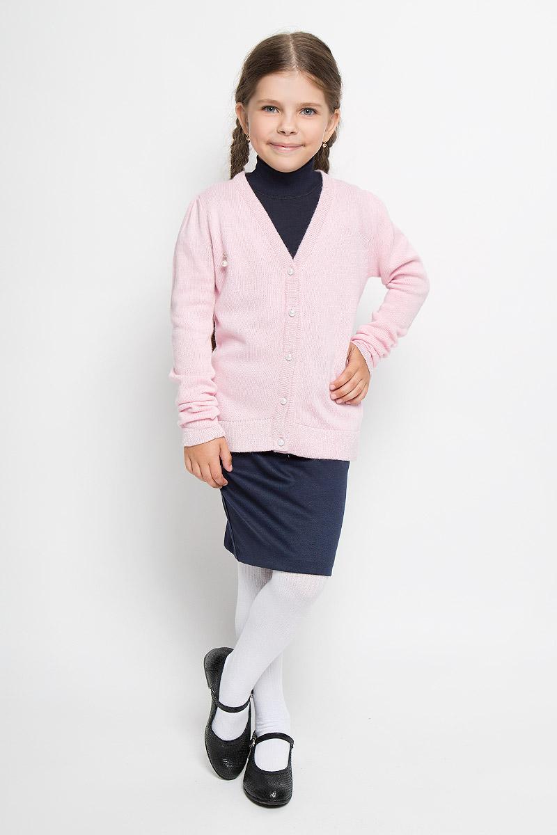 Кардиган для девочки Nota Bene, цвет: светло-розовый. WC5405-56. Размер 98WC5405-56Модный кардиган для девочки Nota Bene подарит вашей малышке комфорт и удобство в прохладные дни. Изготовленный из комбинированной пряжи, он необычайно мягкий и приятный на ощупь, не сковывает движения малыша и позволяет коже дышать, не раздражает даже самую нежную и чувствительную кожу ребенка, обеспечивая наибольший комфорт. Кардиган с длинными рукавами и V-образным вырезом горловины превосходно тянется и отлично сидит. Изделие застегивается на пуговицы спереди. Манжеты рукавов и низ кардигана связаны резинкой. Кардиган оформлен небольшой подвеской спереди. Оригинальный современный дизайн и модная расцветка делают этот кардиган практичным и стильным предметом детского гардероба. В нем ваша малышка будет чувствовать себя уютно и комфортно и всегда будет в центре внимания!