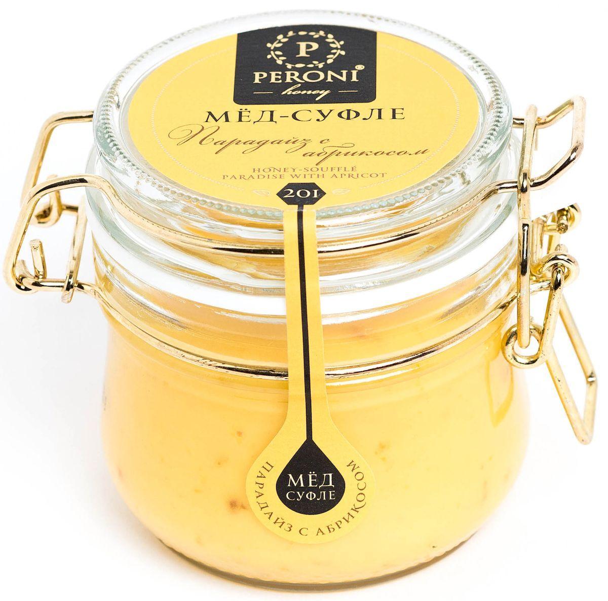Peroni Парадайз с абрикосом мёд-суфле, 250 г201Мёд с сушеным абрикосом — не только вкуснейшая новинка в медовом мире, но и настоящий помощник здоровью и красоте.Мёд солнечного, молочно-абрикосового цвета. Аромат тонкий и выразительный, по характеру цветочно-сливочно-фруктовый. Основная нота принадлежит свежему абрикосу, фруктовому йогурту. В нежном медовом суфле встречаются маленькие кусочки кураги, которые создают абрикосовые акценты.Вкусовые характеристики мёда и абрикоса проявляются комплексно, они близки и идеально дополняют друг друга, создавая гармонию. Вкус мёда чрезвычайно динамичен: сливочная атака сменяется интенсивной цветочно-фруктовой волной, оставляя в завершение пряно-абрикосовый акцент. В целом вкус мёда-суфле освежающий и бодрящий. Обволакивающая сладость мёда уравновешивается бодрящей фруктовой свежестью. Создается ощущение легкости и прохлады.Для получения мёда-суфле используются специальные технологии. Мёд долго вымешивается при определенной скорости, после чего его выдерживают при температуре 12-14°С, тем самым закрепляя его нужную консистенцию. Все полезные свойства мёда при этом сохраняются.Целебные сорта мёда. Статья OZON Гид