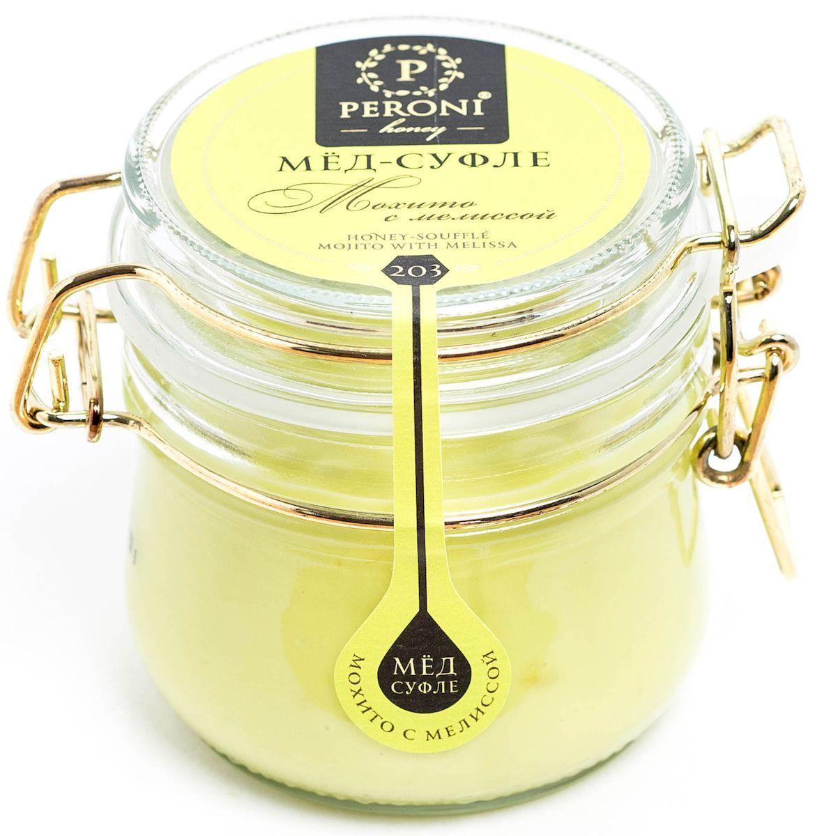 Peroni Мохито с мелиссой мёд-суфле, 250 г203Можно сказать, что цвет этого мёда загадочный и ласковый – нежный светлый лайм, а может быть светлый оттенок авокадо… Приятный тонкий аромат мёда напоминает о цветущих садах с пряно-травяным дуновением теплого летнего ветра. Консистенция мёда мягкая, шелковистая. Необычный вкус раскрывает богатую палитру оттенков: сладкие сливки, свежий лимон, чувственная мелисса и пикантное послевкусие.Мёд-коктейль Мохито с мелиссой будет надежным компаньоном в любой сезон. Летом он освежит, тонизирует и подарит минуты отдыха и расслабления. А зимой он поддержит вашу иммунную систему, успокоит, справится с простудой, снимет мышечные спазмы и поднимет настроение.Для получения мёда-суфле используются специальные технологии. Мёд долго вымешивается при определенной скорости, после чего его выдерживают при температуре 12-14°С, тем самым закрепляя его нужную консистенцию. Все полезные свойства мёда при этом сохраняются.