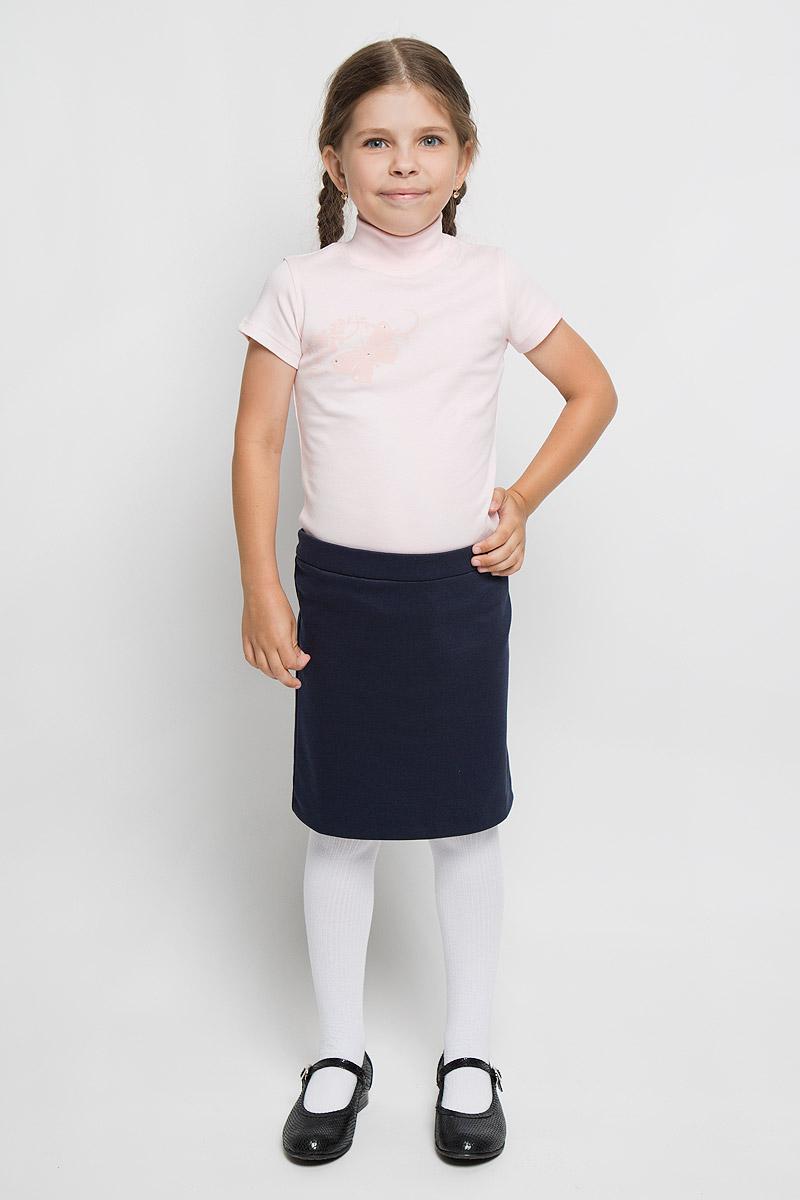 Водолазка для девочки M&D, цвет: розовый. AW5560A-5. Размер 122AW5560A-5/AW5560B-5 AW5560A-10Водолазка для девочки M&D идеально подойдет вашей дочурке. Изготовленная из натурального хлопка, она необычайно мягкая и приятная на ощупь, не раздражает нежную кожу ребенка и хорошо вентилируется, а эластичные плоские швы приятны телу ребенка и не препятствуют его движениям. Водолазка с короткими рукавами и воротником-стойкой оформлена изображением оригинальной бабочки, декорированной стразами.Современный дизайн и расцветка делают эту водолазку модным и стильным предметом детского гардероба. В ней вашей маленькой моднице будет комфортно и уютно.