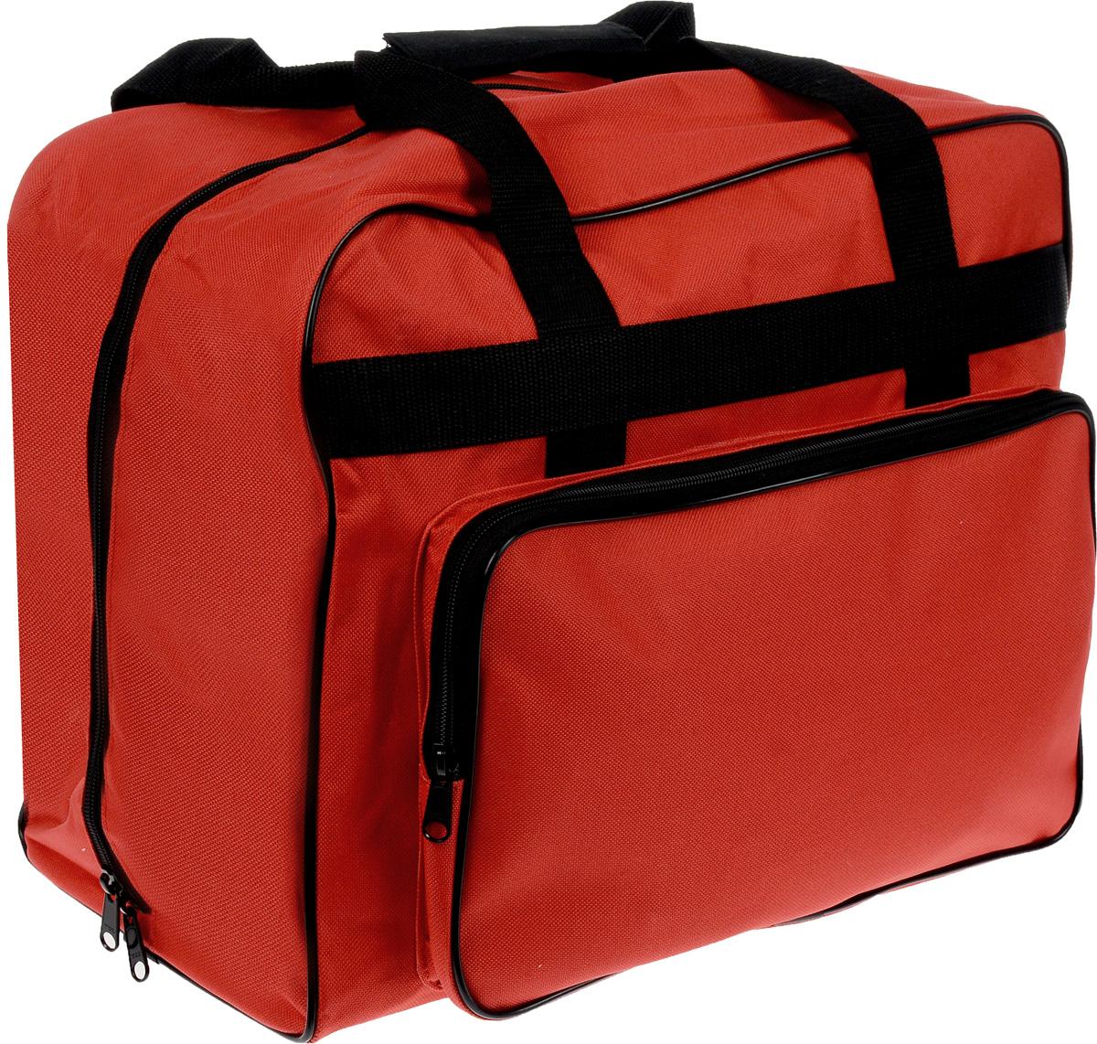 Сумка для швейной машины Aurora, 43 х 21 х 33 смMS-074FСовременная сумка Aurora, выполненная из прочного и влагостойкого текстиля,предназначена для храненияшвейной машины. Усиленные швы, молния и широкие ручки из стропы выполнены вконтрастном цвете. Сумка дополненабоковым карманом, в котором вы можете переносить фурнитуру и прочиешвейные мелочи.