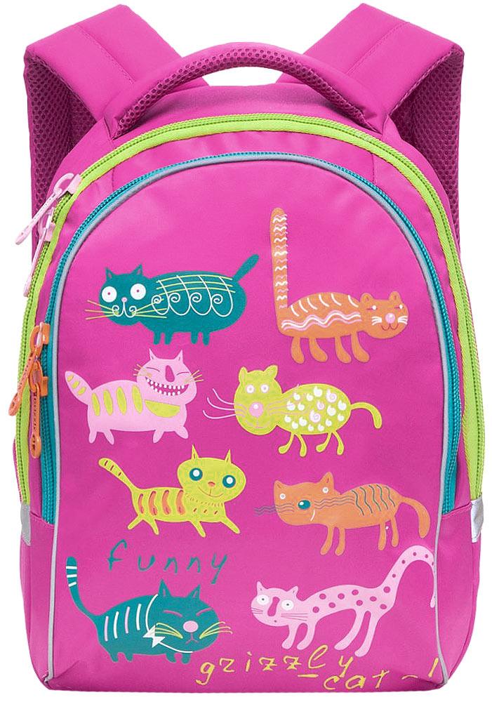 Grizzly Рюкзак детский Коты цвет фуксияRG-657-4/4Детский рюкзак Коты - это красивый и удобный рюкзак, который подойдет всем, кто хочет разнообразить свои школьные будни. Рюкзак выполнен из плотного нейлона яркого цвета и оформлен оригинальными изображениями цветных забавных котов.Рюкзак имеет два основных отделения, которые закрываются на застежки-молнии. Одно из отделений содержит открытый накладной карман и три небольших кармашка для канцелярских принадлежностей, второе отделение не имеет карманов.Рюкзак оснащен удобной ручкой для переноски. Светоотражающие полоски по всему периметру рюкзака существенно повышают безопасность ребенка на дороге в темное время суток.Широкие регулируемые лямки и сетчатые мягкие вставки на спинке рюкзака предохранят мышцы спины ребенка от перенапряжения при длительном ношении.Многофункциональный детский рюкзак станет незаменимым спутником вашего ребенка в поход за знаниями.