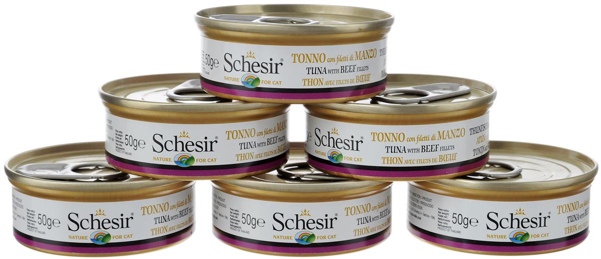 Конcервы Schesir для кошек, с тунцом и говядиной, 50 г, 6 шт консервы для кошек schesir с цыпленком и яблоком 75 г