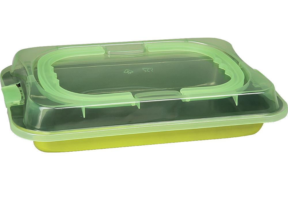 Форма для запекания Pomi d'Oro Dolcezza, прямоугольная, 36 х 23 х 4 см77.858@23427 / QL3602 DolcezzaПрямоугольная форма Pomi dOro подходит для приготовления выпечки, запеканок и других блюд. Она выполнена из углеродистой стали толщиной 0,4 мм с антипригарным покрытием. Крышка с ручками в комплекте. Крышка выполнена из прочной пластмассы, однако ее нельзя использовать в духовке или накрывать горячую форму. Прочная и долговечная, не деформируется под воздействием температуры, легко моется. Может использоваться во всех типах духовых шкафов. Можно мыть в посудомоечной машине.Размер формы без крышки: 36 х 23 х 4 см.