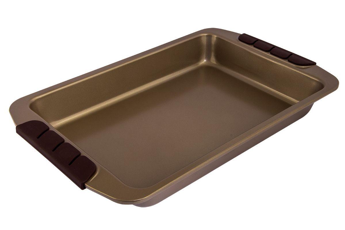 Форма для запекания Pomi d'Oro Spumante, прямоугольная, с антипригарным покрытием, 32,5 х 22,5 см77.858@23648 / Q3312 SpumanteФорма для запекания Pomi dOro Spumante изготовлена из углеродистой стали с керамическим покрытием Kerano. Такое покрытие позволяет готовить практически без использования масла, отличается хорошей стойкостью к внешним воздействиям и не деформируется при нагревании. Утолщенное дно обеспечивает равномерное распределение и длительное сохранение тепла. Форма снабжена удобными силиконовыми вставками. Пища в такой форме не пригорает и не прилипает к стенкам. Форма станет полезным приобретением для вашей кухни и сделает приготовление любимых блюд намного проще.Подходит для всех видов духовок. Внутренний размер формы: 32,5 х 22,5 см. Высота стенки: 5,2 см.