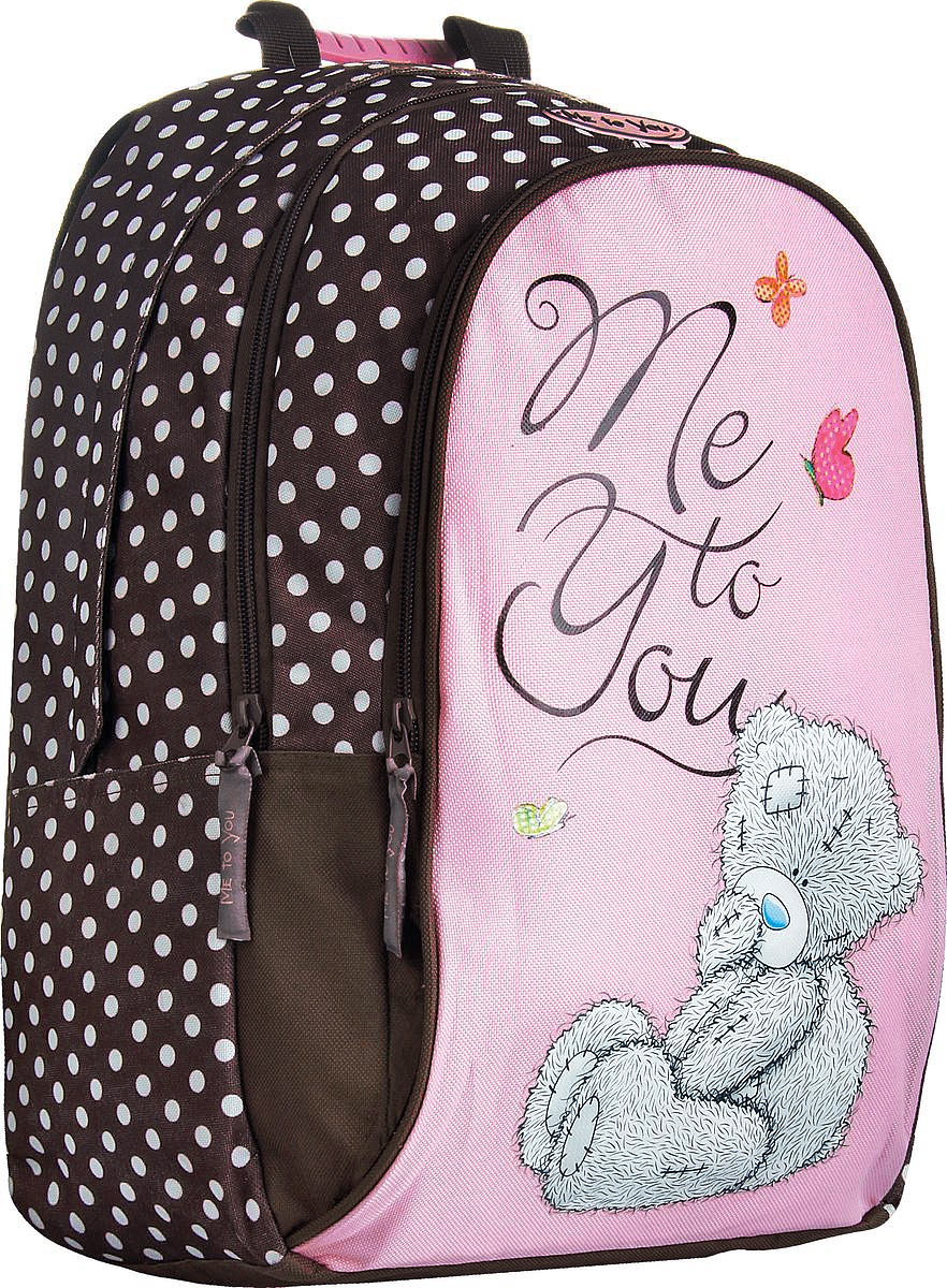 Me To You Рюкзак детский Me To You цвет светло-розовый коричневыйMYCB-UT2-797Детский рюкзак Me To You предназначен специально для подростков. Рюкзак содержит одно вместительное отделение, закрывающееся на застежку-молнию с двумя бегунками. Внутри отделения имеется дополнительный карман на застежке-молнии и поднимающаяся плотная вставка для дна. На лицевой стороне расположены два наружных кармана на застежке-молнии. Передний наружный карман содержит два открытых накладных кармана и украшен снаружи изображением милого мишки. Рюкзак оснащен широкими мягкими лямками со светоотражающими вставками, регулирующимися по длине, а также текстильной ручкой с резиновой насадкой для удобной переноски в руке. Спинка и лямки рюкзака дополнены эргономичными подушечками и противоскользящей сеточкой с вентиляционными отверстиями.