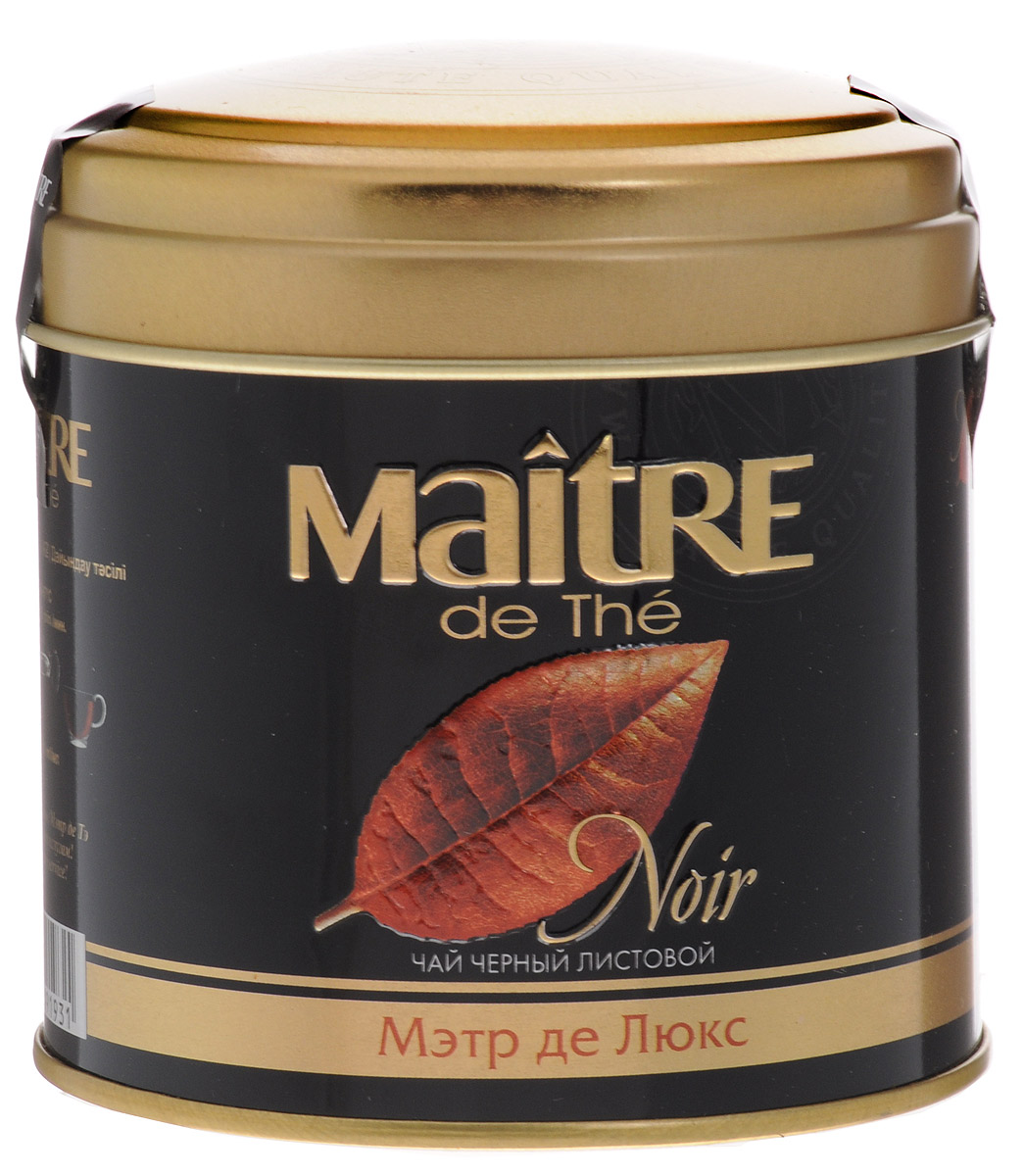 Maitre de The Де Люкс черный листовой чай, 100 г (жестяная банка) maitre de the де люкс зеленый листовой чай 65 г жестяная банка