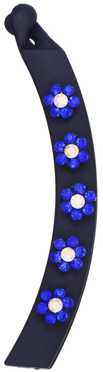 Заколка-банан Mitya Veselkov, цвет: темно-синий. KRAB5-DARKRAB5-DARОригинальная заколка-банан Mitya Veselkov изготовлена из качественного пластика. Заколка украшена цветочками, составленными из страз. Удобный зажим заколки надежно фиксирует волосы и не травмирует их. С помощью заколки-банана можно создавать различные прически для неповторимого образа.Оригинальность и удобство заколки-краба для волос делают ее практичным и стильным аксессуаром.