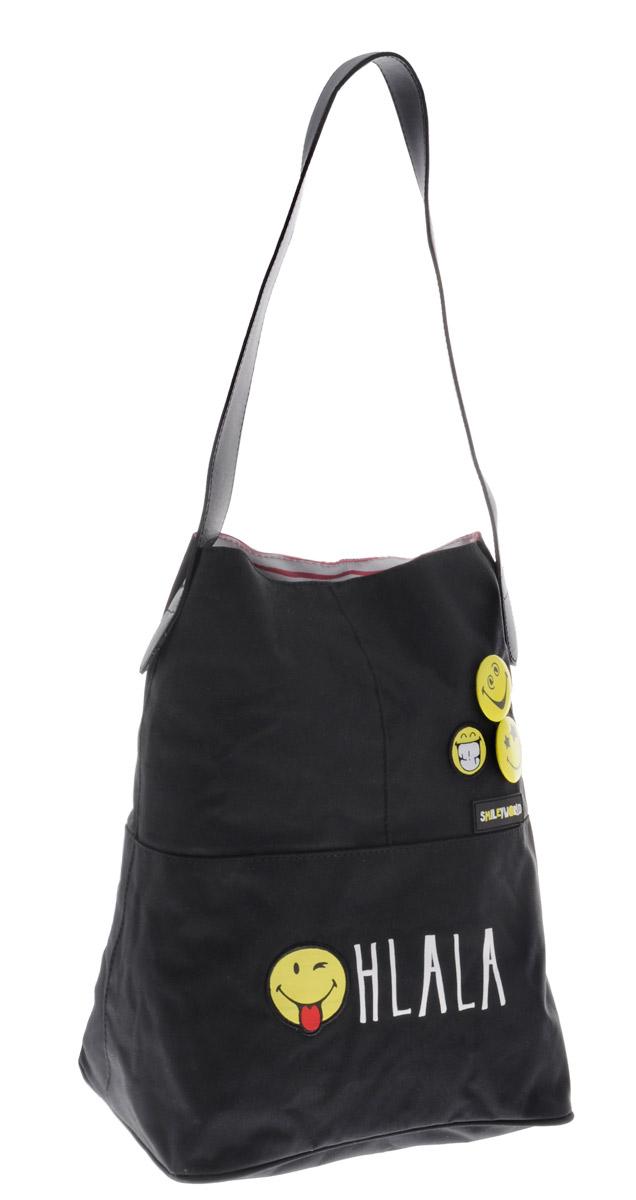 Proff Сумка детская Smiley WorldSG16-SBT-14Детская сумка Proff Smiley World выполнена из полиэстера черного цвета. Элементы отделки выполнены из пластика, металла, ПВХ.Сумка состоит из одного вместительного отделения, закрывающегося на магнитную кнопку, внутри которого расположен кармашек на застежке-молнии. На внешней стороне сумки изображен забавный смайл, также прикреплены два значка в виде смайлов. Сумка оборудована одной удобной ручкой.Эту сумку можно использовать для повседневных прогулок, учебы, отдыха и спорта, а также как элемент вашего имиджа.
