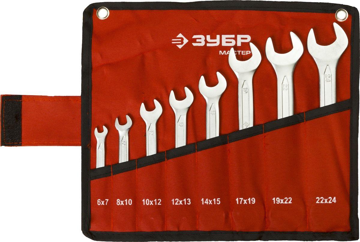 Набор ключей рожковых Зубр Мастер, 8 предметов27010-H8Набор рожковых ключей Зубр Мастер станет отличным помощником монтажнику или владельцу авто. Этот набор обеспечит надежную фиксацию на гранях крепежа. Ключи изготовлены из хромованадиевой стали.В набор входят: Сумка для ключей;Ключи: 6 х 7, 8 х 10, 10 х 12, 12 х 13, 14 х 15, 17 х 19, 19 х 22, 22 х 24 мм.