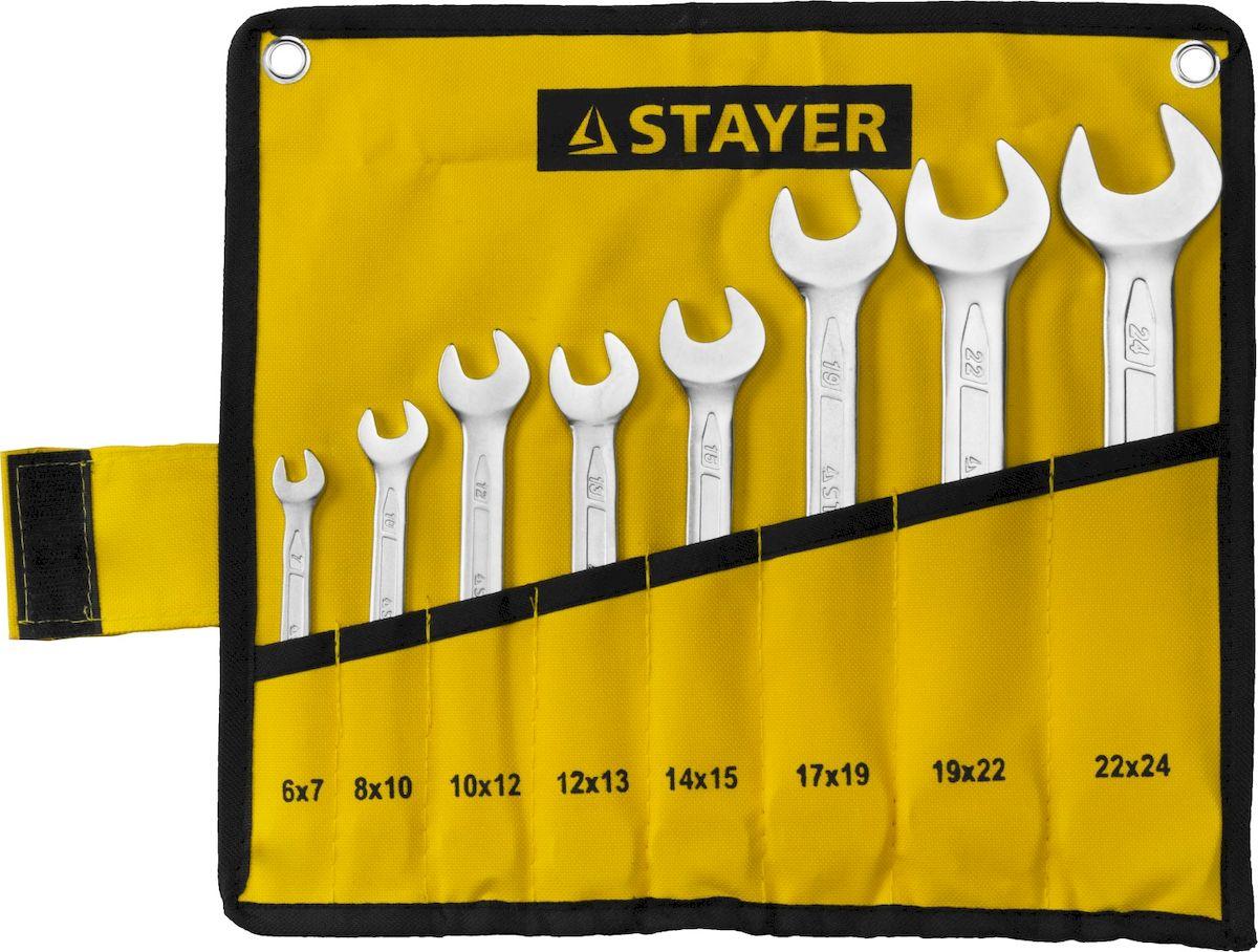 Набор ключей рожковых Stayer Professional, 8 предметов27035-H8Набор рожковых гаечных ключей Stayer Professional предназначен для профессионального применения в решении сантехнических, строительных и авторемонтных задач, а также для бытового использования. Ключи изготовлены из высококачественной хромованадиевой стали.В набор входят сумка и ключи на 6 х 7, 8 х 10, 10 х 12, 12 х 13, 14 х 15, 17 х 19, 19 х 22, 22 х 24 мм.