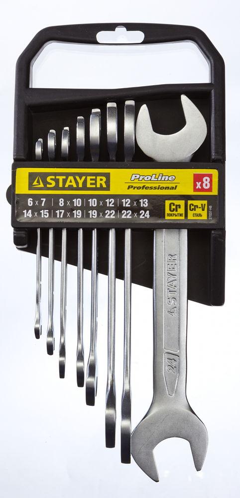 Набор ключей рожковых Stayer Professional, 8 предметов27037-H8Набор рожковых гаечных ключей Stayer Professional предназначен для профессионального применения в решении сантехнических, строительных и авторемонтных задач, а также для бытового использования. Ключи изготовлены из высококачественной хромованадиевой стали.В набор входят ключи: 6 х 7, 8 х 10, 10 х 12, 12 х 13, 14 х 15, 17 х 19, 19 х 22, 22 х 24 мм.