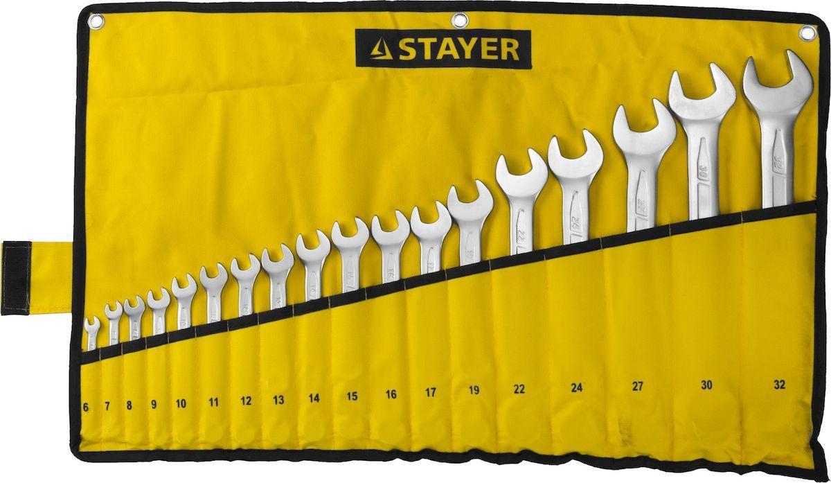 Набор ключей комбинированных Stayer Professional, 18 предметов27081-H18Набор комбинированных гаечных ключей Stayer Professional предназначен для профессионального применения в решении сантехнических, строительных и авторемонтных задач, а также для бытового использования. Ключи изготовлены из высококачественной хромованадиевой стали.В набор входят сумка и ключи на 6, 7, 8, 9, 10, 11, 12, 13, 14, 15, 16, 17, 19, 22, 24, 27, 30, 32 мм.