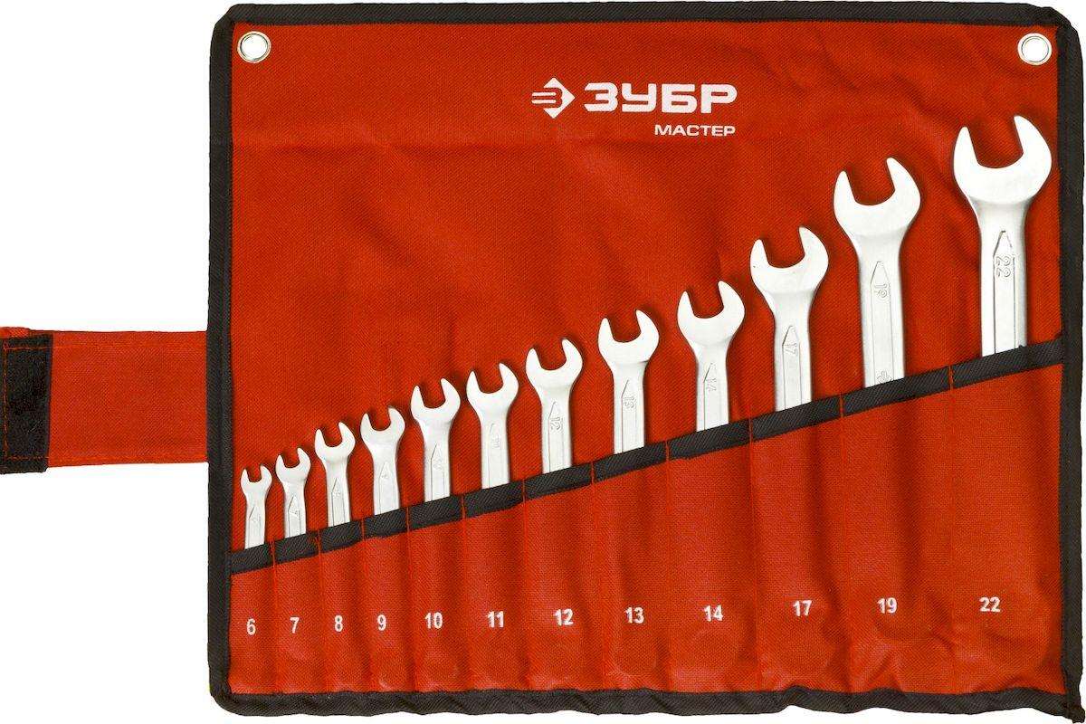 Набор комбинированных гаечных ключей Зубр Мастер, 6-22 мм, 12 шт27087-H12Комбинированные ключи Зубр Мастер изготовлены из высококачественной хромованадиевой стали с многоступенчатой закалкой для увеличения ресурса ключа, а также обладают надежным хромированным покрытием для защиты от коррозии. Рабочие характеристики соответствуют ГОСТ 2838. Применяется для работ с шестигранным крепежом.В комплекте чехол для переноски и хранения.Размер ключей: 6 мм, 7 мм, 8 мм, 9 мм, 10 мм, 11 мм, 12 мм, 13 мм, 14 мм, 17 мм, 19 мм, 22 мм.