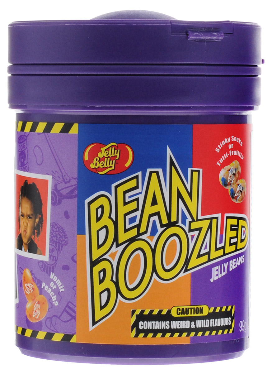 Jelly Belly Bean Boozled драже жевательное ассорти, 99 г071567999472Новый формат удивительных конфет Bean Boozled от знаменитого бренда Jelly Belly – конфеты с диспенсером. Доставать такие конфетки удобно! Теперь Bean Boozled Challenge станет еще веселей. Конфеток так много, хватит на большую компанию.Баночка содержит 8 ужасающе мерзких вкусов и 8 очень вкусных. Пары конфет внешне ничем не отличается ни по цвету на по запаху, не узнаешь, пока не попробуешь! Рискнешь?