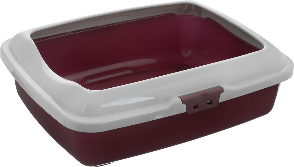 Туалет для кошек Marchioro  Goa , с бортом, цвет: бордовый, серый, 43 х 33 х 14 см