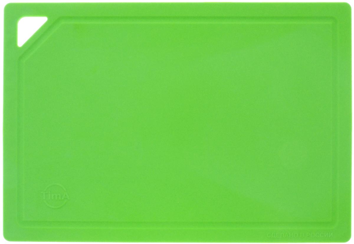 """Гибкая разделочная доска """"TimA"""" изготовлена из полиуретана и обладает уникальными свойствами. Гигиенична. Не вступает в химическую реакцию с продуктами, не выделяет вредных веществ, предотвращает размножение болезнетворных микроорганизмов на поверхности доски. Безопасна. Доска плотно прилегает к любой поверхности стола или столешницы, не скользит. По краю проходит небольшой желоб, который предохраняет от растекания жидкости. Комфортна. Удобно высыпать нарезанные продукты даже в небольшую посуду, не уронив ни единого кусочка. Подходит для керамических ножей. Долговечна. Благодаря исключительным свойствам полиуретана, срок службы такой доски значительно выше, чем досок из дерева и пластика. Доски выпускаются в разных цветах, что позволяет использовать их для определенного вида продуктов. Зеленая - для овощей, красная - для мяса, синяя - для морепродуктов, желтая - для птицы, белая - для молочных продуктов. Простота в уходе. Благодаря низкой пористости материала, доска не впитывает влагу, легко очищается от жира и грязи.Можно мыть в посудомоечной машине."""