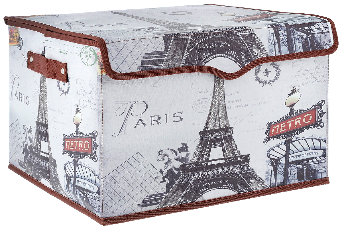 Кофр для хранения El Casa Париж - Метро, 41 х 36 х 26 см. 171142171142Кофр El Casa Париж - Метро, выполненный из экокожи, имеет жесткий каркас из МДФ и снабжен откидной крышкой, которая закрывается на липучку. Так же по бокам имеются две ручки, предназначенные для комфортной переноски. Изделие имеет стильный внешний вид и декорировано изображением Эйфелевой башни. В таком кофре можно хранить всевозможные предметы: книги, игрушки, рукоделие и многое другое. Яркий запоминающий дизайн кофра привнесет в ваш интерьер неповторимый шарм. Кофр El Casa Париж - Метро - компактное и красивое решение для хранения вещей дома или на даче.