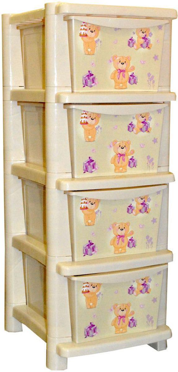 Little Angel Детский комод Мишки с тортиками 4 ящикаLA4704IR_мишка с тортикамиВместительный, современный и удобный дизайн комода идеально подойдет для детской комнаты. Сглаженные углы и облегченная конструкция комода безопасны даже для самых активных малышей. Спокойные пастельные цвета комода станут прекрасным дополнением для детской комнаты.Размер в собранном виде: 41 х 33,5 х 87 см.