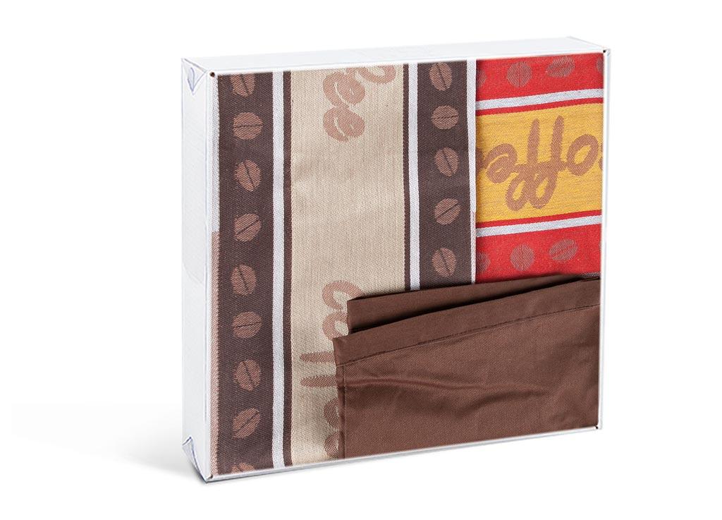 Комплект кухонный Soavita Coffee, 50х70 см, 2 шт, с передником, цвет: бежевый, коричневый79805Перед использованием постирать при температуре не выше 40 градусов