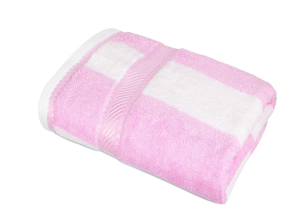 Полотенце Soavita Premium. Полосы, цвет: розовый, белый, 65 х 135 см шорты джинсовые love moschino love moschino lo416ewaevk4