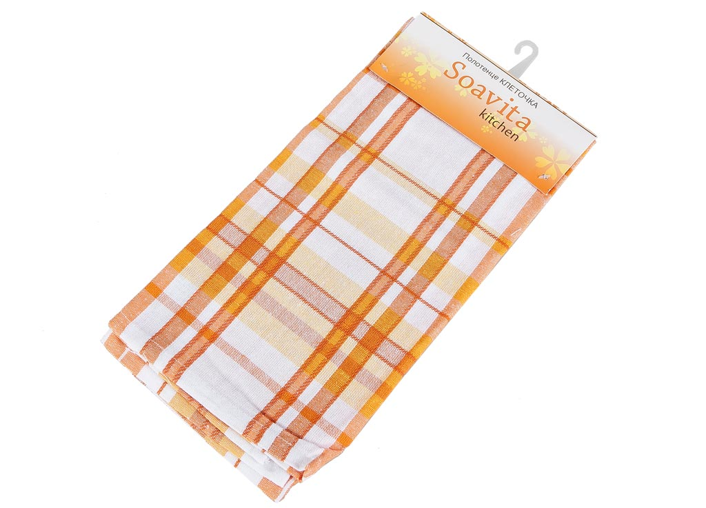 Полотенце кухонное Soavita Клеточка, цвет: белый, оранжевый, желтый, 45 х 65 см полотенце кухонное soavita цвет коралловый диаметр 65 см 48800