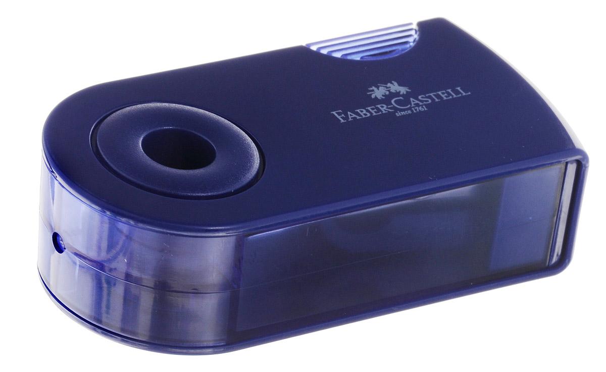 Faber-Castell Точилка двойная Sleeve цвет синий182701_синийТочилка двойная Faber-Castell Sleeve выполнена из прочного пластика синего цвета.В точилке имеются два отверстия для карандашей разного диаметра, подходит для различных видов карандашей. Эргономичная форма контейнера обеспечивает стабильное положение кисти. Карандаш затачивается легко и аккуратно, а опилки после заточки остаются в специальном контейнере повышенной вместимости.