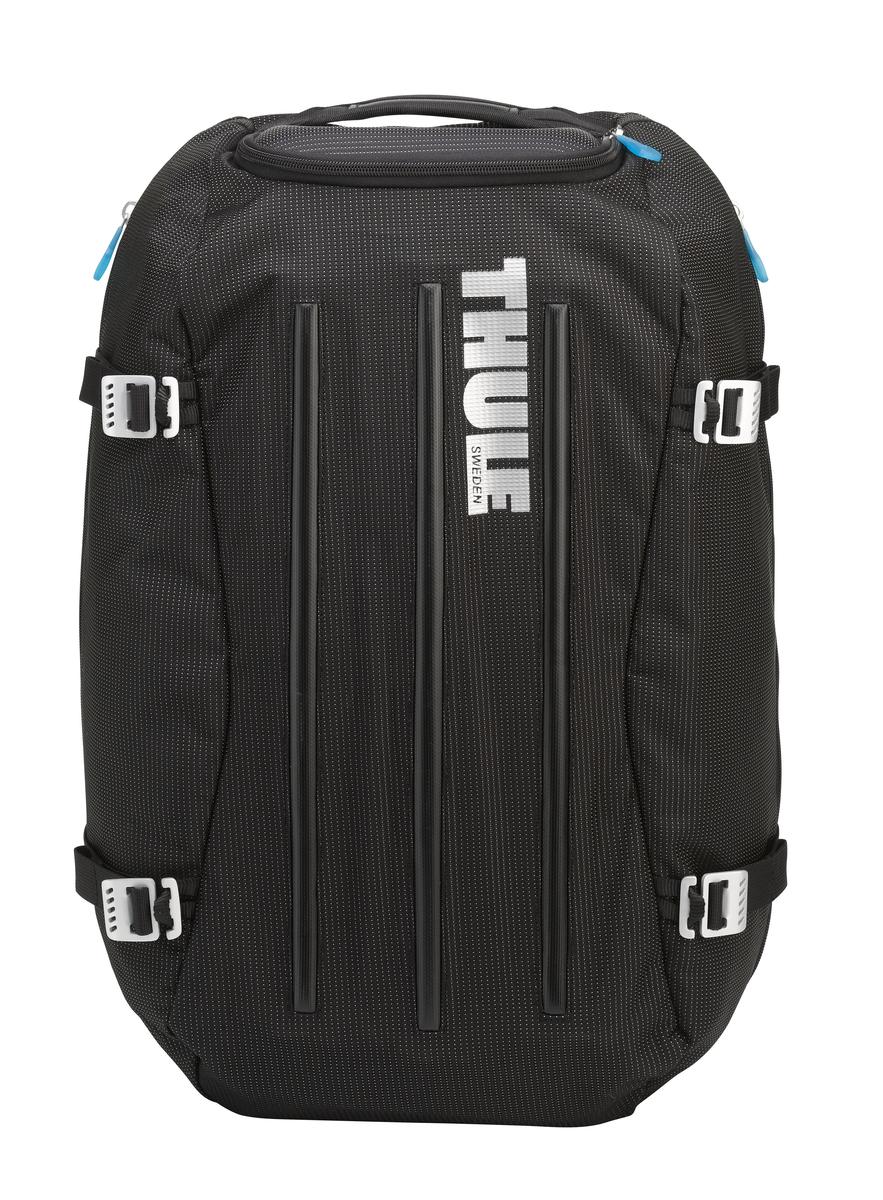 Сумка-рюкзак Thule Crossover Duffel Pack, цвет: черный, 40 л3201082Туристический рюкзак Thule Crossover идеален для дальних путешествий. Этот гибрид рюкзака и спортивной сумки с молнией сзади обеспечивает сохранность любого содержимого. Алюминиевый каркас и водостойкий материал делают эту сумку легкой, но прочной Изготовленное по технологии горячей прессовки ударопрочное отделение SafeZone защитит ваши очки, портативную электронику и другие хрупкие вещи (отделение запирается и может быть удалено для освобождения дополнительного места). Приподнятые направляющие обеспечивают дополнительную защиту сумки и ее содержимого. Молния на задней стенке позволяет быстро достать из сумки необходимые вещи. Регулировочные ремни для подгонки размера сумки в зависимости от количества багажа Воздухопроницаемые ремни рюкзака Вместительные боковые отделы помогут отделить чистое от грязного, мокрое от сухого и деловое от повседневного.