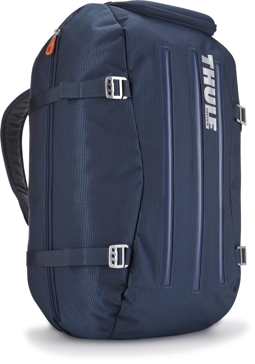 Сумка-рюкзак Thule Crossover Duffel Pack, цвет: темно-синий, 40 л3201083Туристический рюкзак Thule Crossover 40L идеален для дальних путешествий. Этот гибрид рюкзака и спортивной сумки с молнией сзади обеспечивает сохранность любого содержимого. Алюминиевый каркас и водостойкий материал делают эту сумку легкой, но прочной Изготовленное по технологии горячей прессовки ударопрочное отделение SafeZone защитит ваши очки, портативную электронику и другие хрупкие вещи (отделение запирается и может быть удалено для освобождения дополнительного места). Приподнятые направляющие обеспечивают дополнительную защиту сумки и ее содержимого. Молния на задней стенке позволяет быстро достать из сумки необходимые вещи. Регулировочные ремни для подгонки размера сумки в зависимости от количества багажа Воздухопроницаемые ремни рюкзака Вместительные боковые отделы помогут отделить чистое от грязного, мокрое от сухого и деловое от повседневного.
