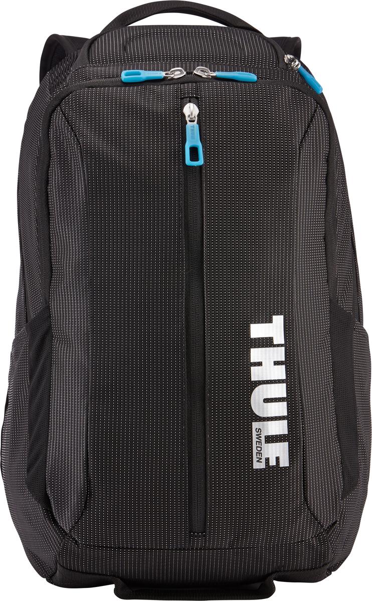 Рюкзак Thule Crossover Backpack, цвет: черный, 25 л3201989Рюкзак Thule Crossover, 25 л позволит сложить все необходимое: в нем есть отделение с дополнительной защитой для электронных устройств и многофункциональное отделение для других вещей. Внутренний отдел с мягкой прокладкой подойдет для MacBook Pro 15 или ноутбука. Отдельный карман с мягкой подкладкой для iPad. В ударопрочном отделении SafeZone для солнечных очков и хрупких вещей есть специальный карман для телефона. Отделение SafeZone можно закрыть на замок, а если нужно освободить дополнительное пространство, можно полностью убрать его. Перфорированные наплечные ремни из EVA с сетчатым покрытием и мягкая задняя подушка со специальными порами, пропускающими воздух, создают ощущение комфорта и позволяют вашей спине «дышать». Водостойкий материал и надежные застежки-молнии делают эту сумку легкой, но прочной. В отделе-органайзере можно хранить зарядные устройства и другие аксессуары, которые всегда должны быть под рукой, но не должны валяться где попало. Несколько удобных ручек для переноски. Боковые сетчатые карманы с двух сторон предназначены для хранения бутылок и аксессуаров.