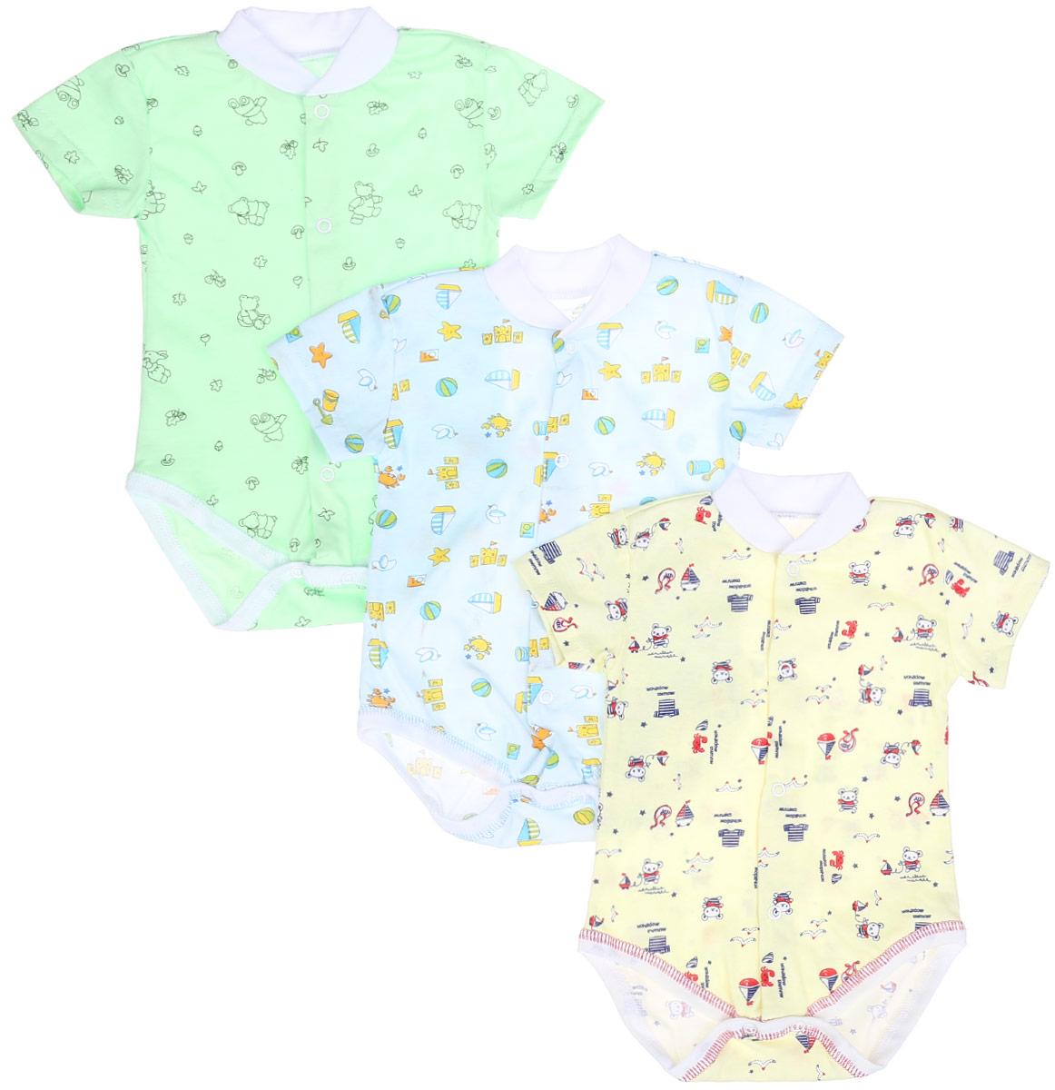 Боди-футболка детское Фреш Стайл, цвет: голубой, желтый, светло-зеленый, 3 шт. 10-325м. Размер 68, 6 месяцев10-325мКомплект Фреш Стайл состоит из трех детских боди. Выполненные из натурального хлопка, они мягкие и легкие, не раздражают нежную кожу ребенка и хорошо вентилируются. Боди с круглым вырезом горловины и короткими рукавами имеют удобные застежки-кнопки по всей длине и на ластовице, которые помогают легко переодеть младенца или сменить подгузник. Застежки-кнопки располагаются по центру модели. Круглый вырез горловины дополнен мягкой трикотажной резинкой. Украшены боди яркими рисунками.Боди полностью соответствуют особенностям жизни малыша в ранний период, не стесняя и не ограничивая его в движениях!УВАЖАЕМЫЕ КЛИЕНТЫ! Обращаем ваше внимание на тот факт, что товар поставляется в цветовом ассортименте. Поставка осуществляется в зависимости от наличия на складе.