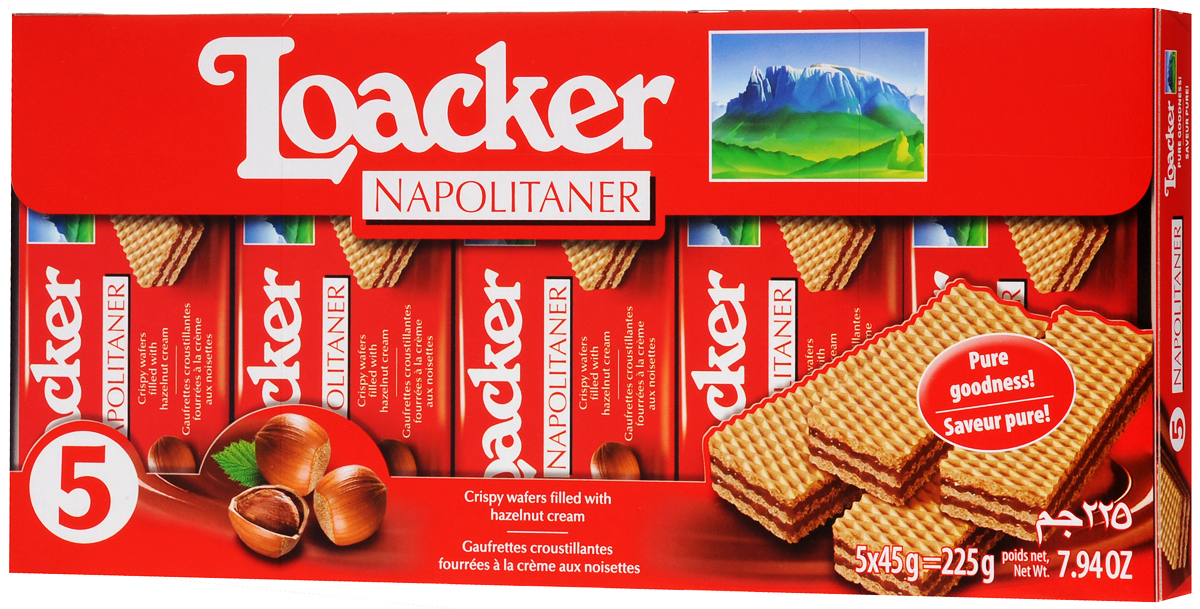 Loacker Наполитанер вафли, 225 г loacker крем какао вафли 175 г