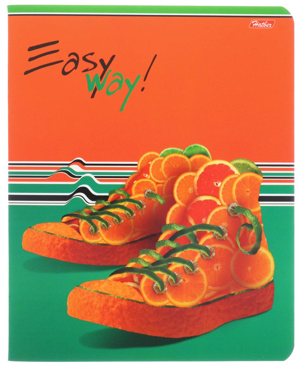 Hatber Тетрадь Фруктово-ягодный шик 48 листов в клетку цвет оранжевый темно-зеленый48Т5вмВ1_14319Тетрадь Hatber Фруктово-ягодный шик отлично подойдет для занятий школьнику, студенту, а также для различных записей.Обложка, выполненная из плотного картона, позволит сохранить тетрадь в аккуратном состоянии на протяжении всего времени использования. Обложка украшена изображением обуви из фруктов и ягод.Внутренний блок тетради, соединенный двумя металлическими скрепками, состоит из 48 листов белой бумаги. Стандартная линовка в клетку голубого цвета дополнена полями, совпадающими с лицевой и оборотной стороны листа. В верхнем углу каждой странички находится разделенное точками место для даты, в нижнем - пустые квадратики для номеров страниц.