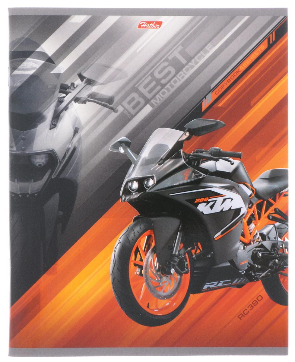 Hatber Тетрадь Спортивные мотоциклы 48 листов в клетку цвет оранжевый48Т5вмВ1_14850Тетрадь Hatber Спортивные мотоциклы отлично подойдет для занятий школьнику, студенту, а также для различных записей.Обложка, выполненная из плотного картона, позволит сохранить тетрадь в аккуратном состоянии на протяжении всего времени использования. Обложка украшена изображением мощного спортивного мотоцикла.Внутренний блок тетради, соединенный двумя металлическими скрепками, состоит из 48 листов белой бумаги. Стандартная линовка в клетку голубого цвета дополнена полями, совпадающими с лицевой и оборотной стороны листа. В верхнем углу каждой странички находится разделенное точками место для даты, в нижнем - пустые квадратики для номеров страниц.