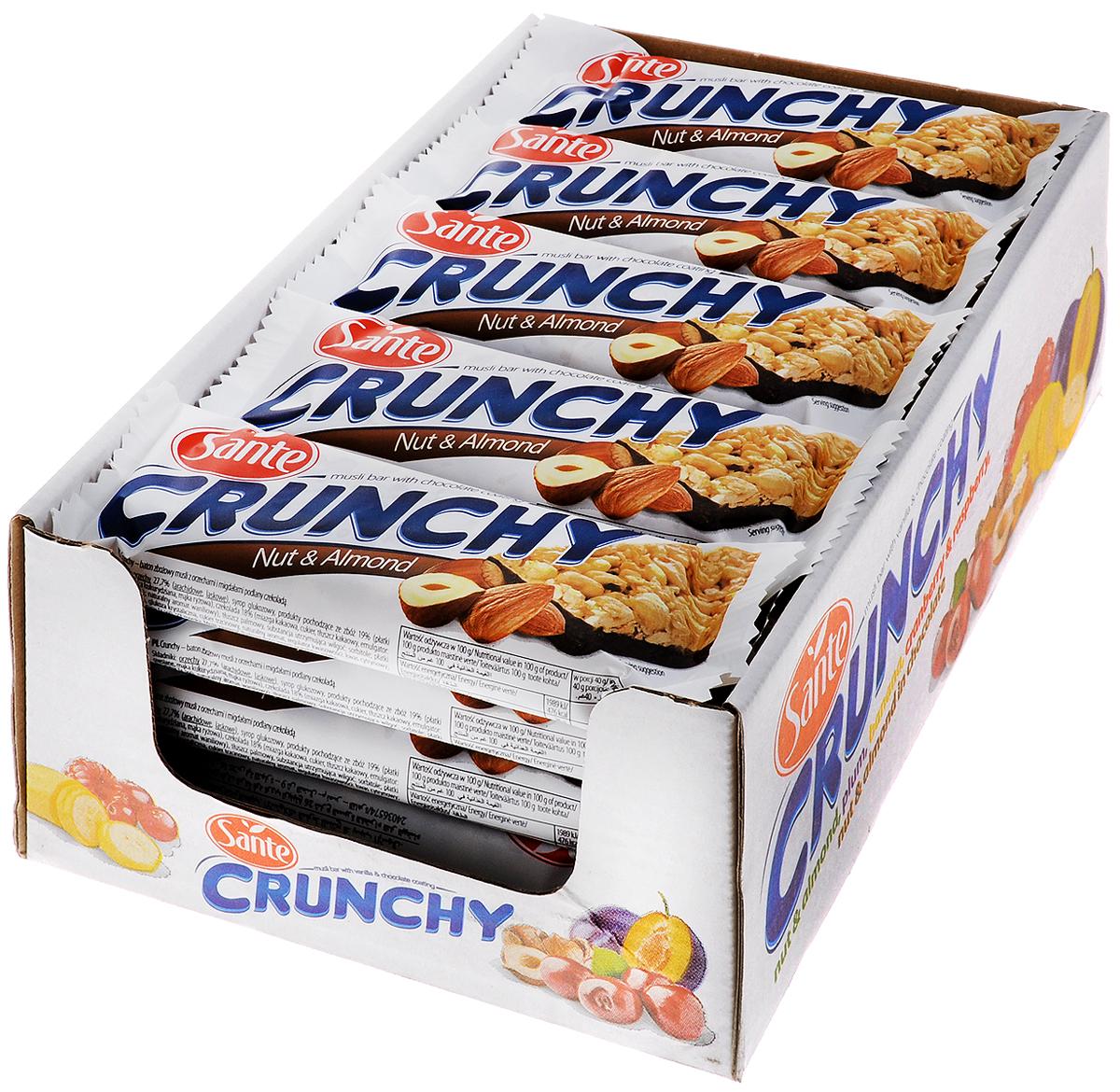 Sante Crunchy батончикмюслисорехамииминдалем в шоколаде,40г (25 шт)5900617015730БатончикмюслиSante Crunchy имеет высокую питательную ценность и прекрасные вкусовые качества. Батончики являются прекрасной альтернативой высококалорийным шоколадным батончикам.