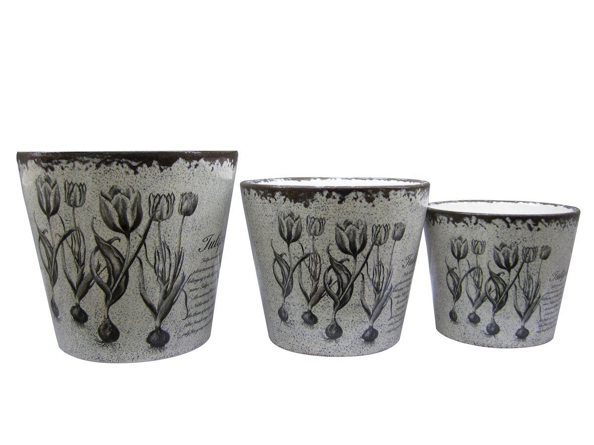 """Набор Miolla """"Тюльпан"""" состоит из 3 горшков. Горшки  выполнены из керамики. Изделия предназначены для цветов. Диаметр горшков: 14 см, 12 см, 10 см."""