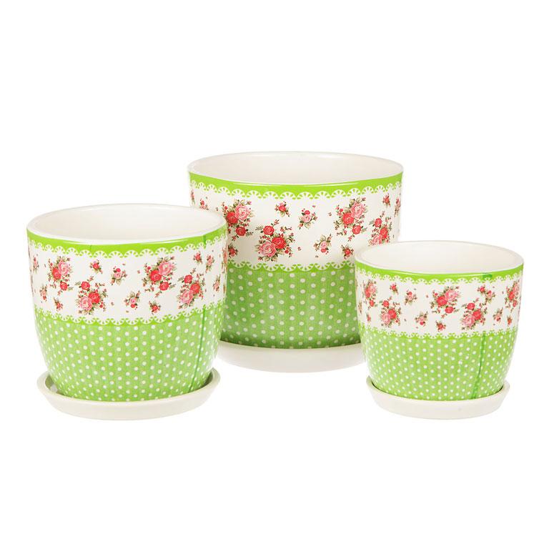 """Набор Miolla """"Луг"""" состоит из 3 горшков. Горшки  выполнены из керамики и декорированы красочным рисунком. Изделия предназначены для цветов. Диаметр горшков: 10,5 см, 15 см, 13 см.Высота горшков: 15 см, 13 см, 10,5 см."""
