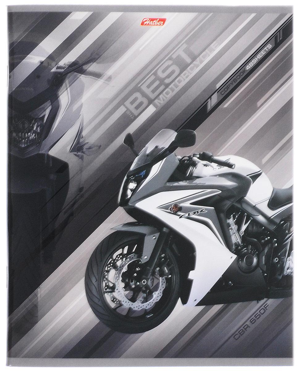 Hatber Тетрадь Спортивные мотоциклы 48 листов в клетку цвет серый48Т5вмВ1_14848Тетрадь Hatber Спортивные мотоциклы отлично подойдет для занятий школьнику, студенту, а также для различных записей.Обложка, выполненная из плотного картона, позволит сохранить тетрадь в аккуратном состоянии на протяжении всего времени использования. Обложка украшена изображением мощного спортивного мотоцикла.Внутренний блок тетради, соединенный двумя металлическими скрепками, состоит из 48 листов белой бумаги. Стандартная линовка в клетку голубого цвета дополнена полями, совпадающими с лицевой и оборотной стороны листа. В верхнем углу каждой странички находится разделенное точками место для даты, в нижнем - пустые квадратики для номеров страниц.
