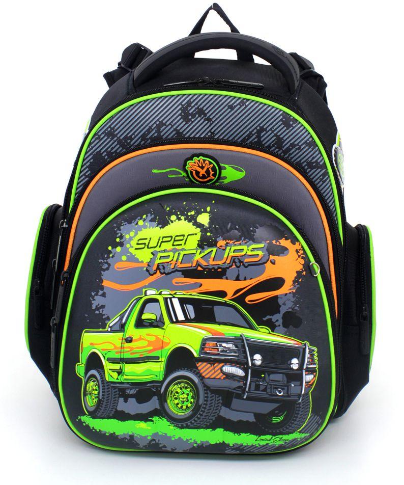 Hummingbird Ранец школьный для мальчика Super Pickups цвет черный оранжевый зеленый
