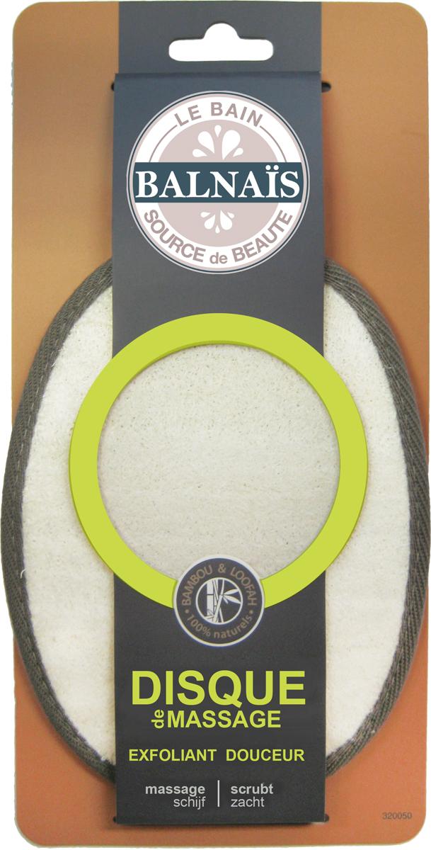 Balnais Массажный диск из бамбука и люфы для пилинга тела200508Качественные волокна бамбука и люфы Бальнэ обеспечивают: комфортное мытье без раздражений кожи; комфортное отшелушивание без покраснений кожи; комфортный лимфодренажный массаж; стимулирует кровообращение; улучшает энергетический баланс кожи. Подходит людям с проблемной кожей.