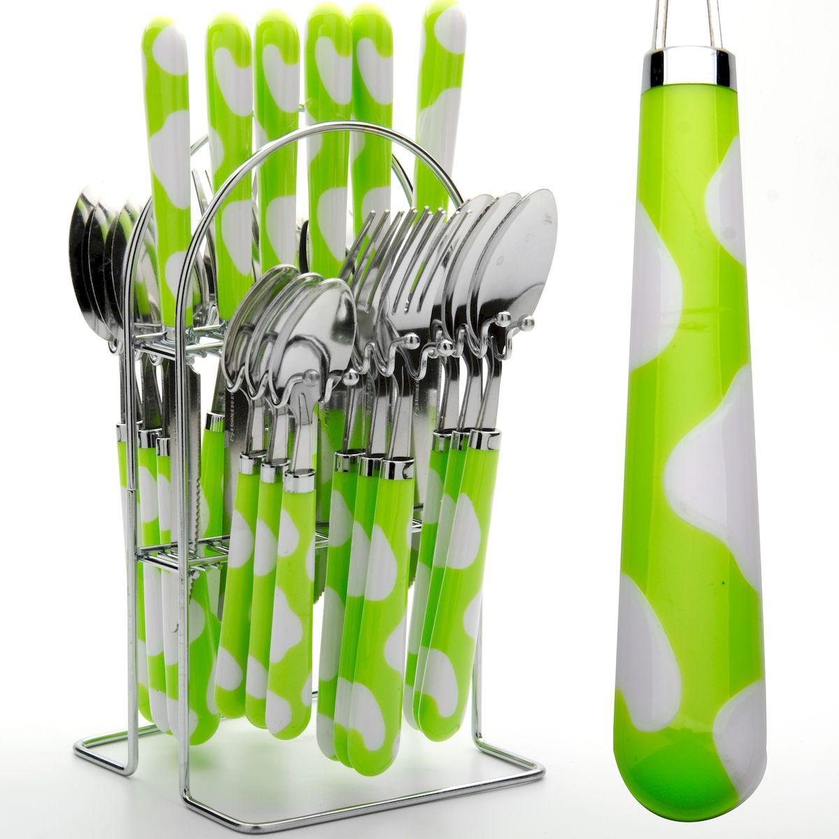 Набор столовых приборов Mayer & Boch, цвет: салатовый, 24 предмета. 224-1-222491-2