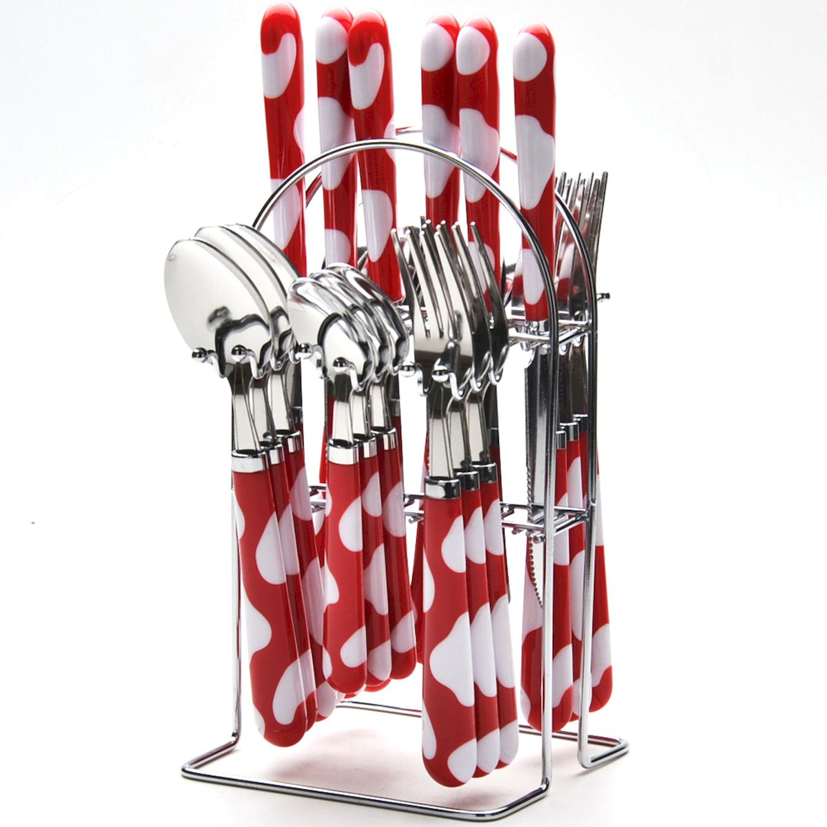 """Набор """"Mayer & Boch"""" включает 25 предметов: 6 столовых  ножей, 6  столовых ложек, 6 столовых вилок, 6 чайных ложек и  подставку. Приборы  выполнены из прочной нержавеющей стали и пластика.  Прекрасное сочетание оригинального дизайна и удобство  использования  предметов набора придется по душе каждому. Предметы  набора расположены на  металлической подставке.  Набор столовых приборов """"Mayer & Boch"""" подойдет для  сервировки стола как  дома, так и на даче и всегда будет важной частью трапезы.  Длина столовой ложки: 20,5 см.  Длина вилки: 20,5 см.  Длина ножа: 22 см.  Длина чайной ложки: 17 см.  Размер подставки: 13,5 х 12 х 24 см."""